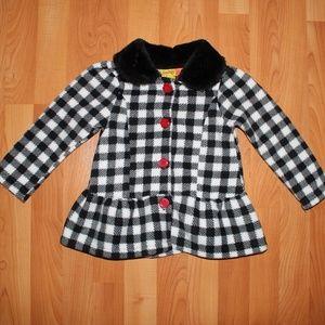 Penelope Mack 3T Dress Coat Plaid Faux Fur Collar